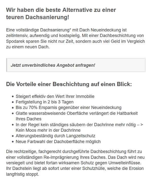 Beschichtung Vorteile für  Limbach: Dachfarbe, Reinigung, Lebensdauer