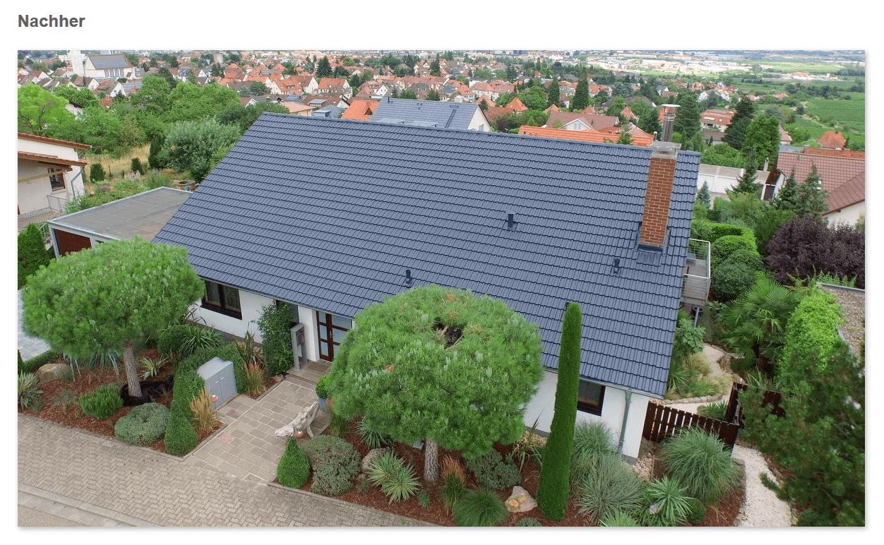 Dach Nachher aus  Neukirch: Dachversiegelung, saubere Oberfläche, Ziegel in neuer Farbe, Mehr Lebensdauer